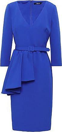 Badgley Mischka Badgley Mischka Woman Belted Ruffled Stretch-crepe Dress Royal Blue Size 2