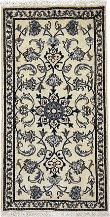 Nain Trading 133x69 Persian Nain Rug Runner Dark Grey/Beige (Hand-Knotted, Iran/Persia, Wool/Silk)