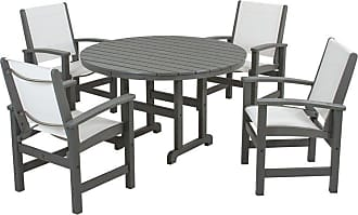 POLYWOOD Outdoor POLYWOOD Coastal Sling Dining Set - Seats 4 Royal Blue White, Patio Furniture - PWS155-1-WH905