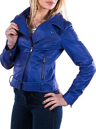 Leather Trend Italy Chiodo Donna - Giacca in Vera Pelle con Cintura colore Blu Elettrico
