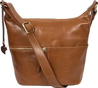 Pure Luxuries London Conkca London Kristin Womens 26cm Biodegradable Leather Shoulder Bag with A Zip Over Top, 100% Cotton Lining and Adjustable Canvas Strap in Dark Tan B