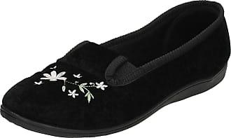 Spot On Ladies Spot On Quality Slippers Flower Print Slippers LS30 - Black - UK Size 3 - EU Size 36 - US Size 5