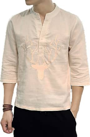 Hellomiko Mens Chinese Style Loose Cotton and Linen Casual Shirt Round Neck Embroidery 3/4 Sleeve Shirt
