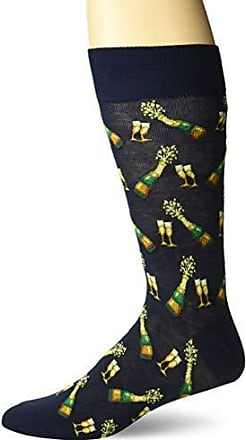 Hot Sox Mens Food and Booze Novelty Casual Crew Socks, Champagne Bottles (Navy), Shoe Size: 6-12