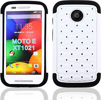 Mundaze Mundaze White Diamond Double Layered Case for Motorola Moto E