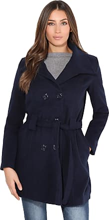 Krisp Women Parka Belted Military Duffle Trench Toggle Coat Long Jacket (Navy, 12), 5651-NVY-12
