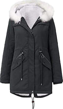 VITryst Womens Drawstring Fur Hooded Zipper Long Coat Casual Warm Outwear Jackets Overcoats Tops,Gery,X-Large
