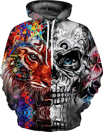 EUDOLAH Mens Long Sleeve Tops Graphic 3D Prints Hoodies Novelty Sweatshirts Colourful Pullover Jumpers (S/M, Tiger Skull-1)
