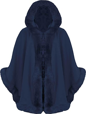 ZEE FASHION Ladies Faux Fur Trim Hooded Capes Ponchos Coat (Navy, One Size)