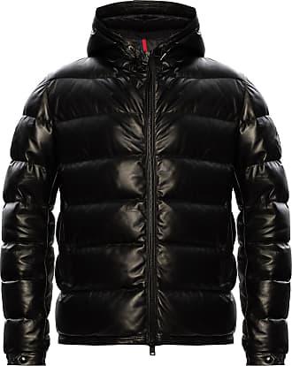 Moncler Gebroulaz Leather Down Jacket Mens Black