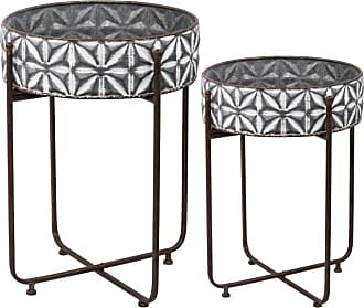 A & B Home Round Planter on Metal Stand - Set of 2