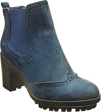 aff275ad2525 Angkorly Damen Schuhe Stiefeletten - Chelsea Boots - Combat Boots -  Perforiert Blockabsatz high Heel 7