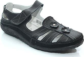 Boulevard Ladies Black Leather Touch Fastening Closed Sandal - Black - size UK Ladies Size 5