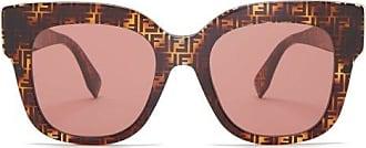 Fendi Ff Cat-eye Acetate Sunglasses - Womens - Brown