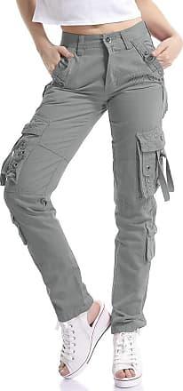 OCHENTA Women Workwear Uniform Combat Cargo 8 Pockets Security Trousers Grey Lable 34-UK 14