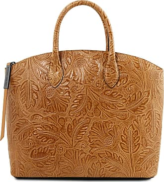 93369f566b Tuscany Leather Borsa shopping in pelle stampa floreale Cognac