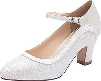 Jane Klain Damen Sommer Schuhe Hochzeitsschuhe weiße Pumps mit Riemchen 224-790