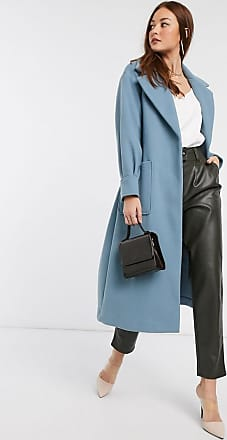 River Island wrap coat with balloon sleeves in blue