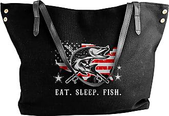 Juju Eat Sleep Fish Fisher American Flag Womens Classic Shoulder Portable Big Tote Handbag Work Canvas Bags