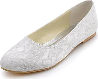 Elegantpark EP11106 Wedding Bridal Shoes Flat Women Closed Toe Lace Wedding Flats Bride Shoes White UK 10(EU 43)