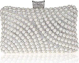3251fa752464a Kaxidy Imitation Perle Strass Designer Damentasche Tasche Clutch Handtasche  Abendtasche Brauttasche (Silber)