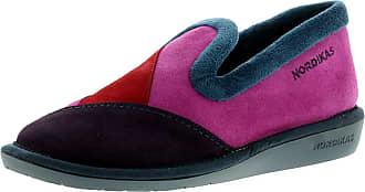 6f7efbe0bc1b1 Nordikas 4508 4 Plus Afelpado Womens Suede Leather Material Full Slippers  Purple - 6.5 UK