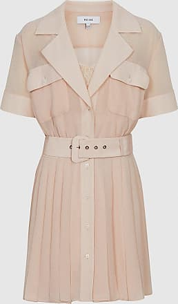 Reiss Fiona - Lace Trim Utility Dress in Nude, Womens, Size 12