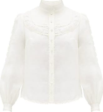 Zimmermann Super Eight Pintucked Linen-blend Blouse - Womens - Ivory