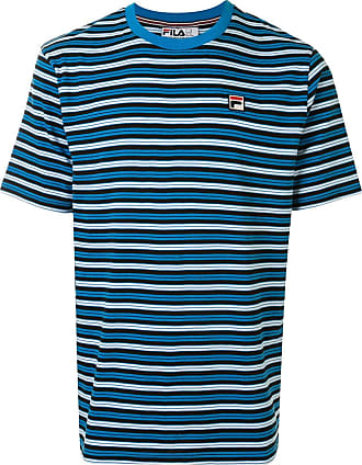 Fila Gestreiftes T-Shirt mit Logo-Patch - Blau