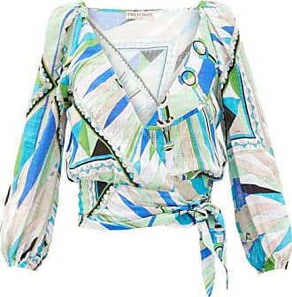 Emilio Pucci Bes-print Wrap-front Cotton-canvas Cropped Top - Womens - Green Print