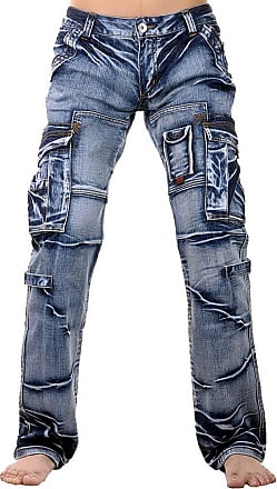 Jeansian Mens Designed Straight-Leg Washed Denim Jeans Trousers Pants J005 W38