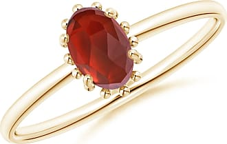 Angara Valentine Day Sale - Classic Oval Garnet Ring with Beaded Halo