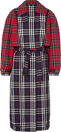 Burberry Patchwork Checked Cotton Trench Coat - Navy