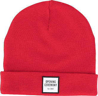 Opening Ceremony logo patch knitted beanie - Red