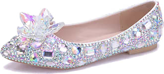 MGM-Joymod Womens Slip-on Flowers Studded Rhinestones Casual Bridesmaid Comfortable Pointed Toe Flats Bridal Wedding Party Ladies Pumps(Silver) 7 M UK