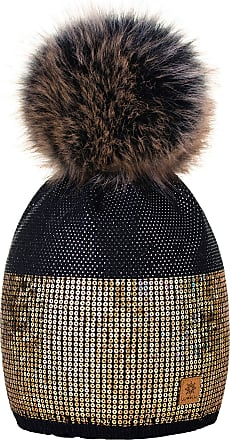 4sold Womens Ladies Winter Hat Knitted Beanie Large Pom Pom Cap Ski Snowboard Hats Bobble Small Crystals Sequins (Black)