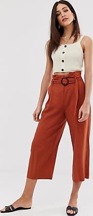 Warehouse linen culottes in rust-Red
