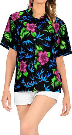 La Leela Womens Hawaiian Shirt Blouse Top Short Sleeve Casual Work Shirt Regular Wear Plus Size Uniform Printed Aloha XL-UK Size:22-24 Halloween Black_X104