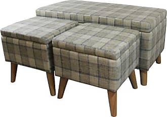 ORE 18 Grey Plaid Storage Bench + 2 Storage Ottoman Seating