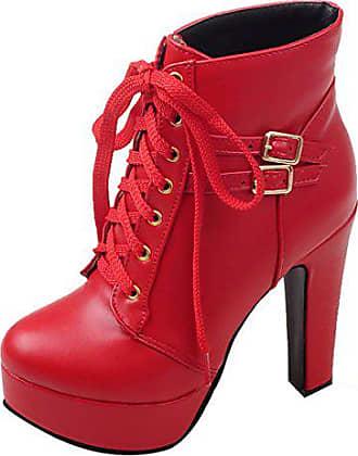 a9da61a19fee6a UH Damen Schnür Ankle Boots Blockabsatz Plateau Stiefeletten mit Warm  Gefüttert und Schnalle 12cm Absatz Schuhe