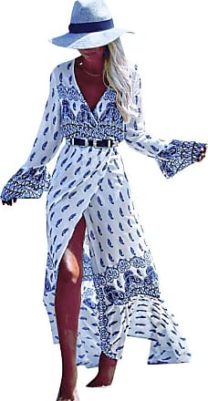 LaoZan Boho Maxi Dress Womens Vintage Floral Print V Neck Long Sleeve Split Long Beach Dress White Blue One Size
