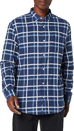 Original Penguin Mens Heather Brushed Plaid Check Shirt Casual, Blue (Sargasso Sea 485), X-Large (Size:XL)