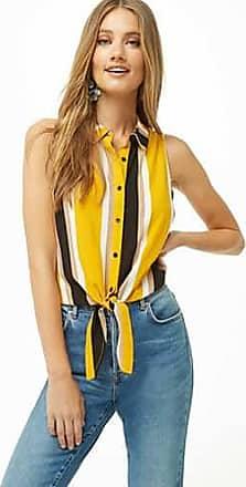 Forever 21 Forever 21 Striped Sleeveless Tie-Hem Shirt Mustard/black
