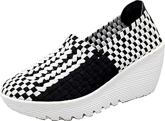 Insun Womens Woven Slip On Wedge Shoes Black White UK 3.5
