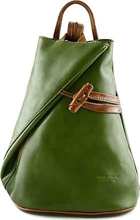 dd5db3a85909a Dream Leather Bags Made in Italy Damen Echtes Leder Rucksack Mit Träger Und  Reißverschluss- Aniuk