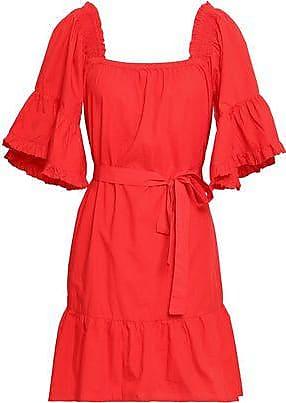 Joie Joie Woman Colstona Ruffle-trimmed Cotton-poplin Mini Dress Tomato Red Size XXS