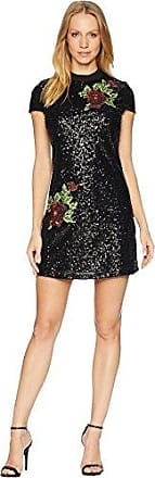 Bebe Womens All Over Sequin T Shirt Dress with Rose Applique, Black, 4