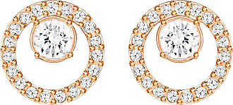 Swarovski Creativity Circle Pierced Earrings, Small, White, Rose Gold Plating