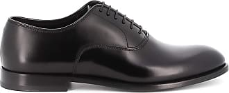 Doucal's Brushed Leather Black Oxford Shoes, 44.5