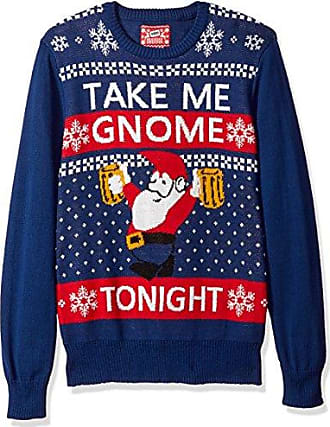 Hybrid Mens Take Me Gnome Tonight Ugly Christmas Sweater, Navy, Large